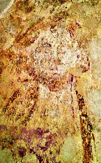 Medieval crypt fresco, Duntisbourne   by William Parsons Pilgrim