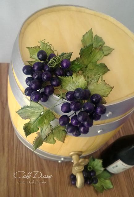 Wine barrel grapes closeup