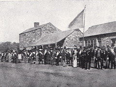 Oddfellows procession in front of 15, 17, 19 Aldinga Road, possibly 1863