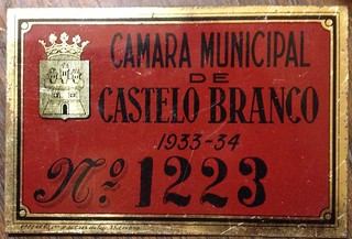 PORTUGAL, CITY of CASTELO BRANCO 1933-34 ---WAGON or OXCART LICENSE PLATE