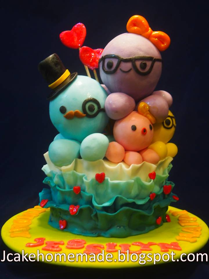 Incredible Octopus Birthday Cake Happy Birthday Jessilyn Thanks Stev Flickr Funny Birthday Cards Online Inifodamsfinfo