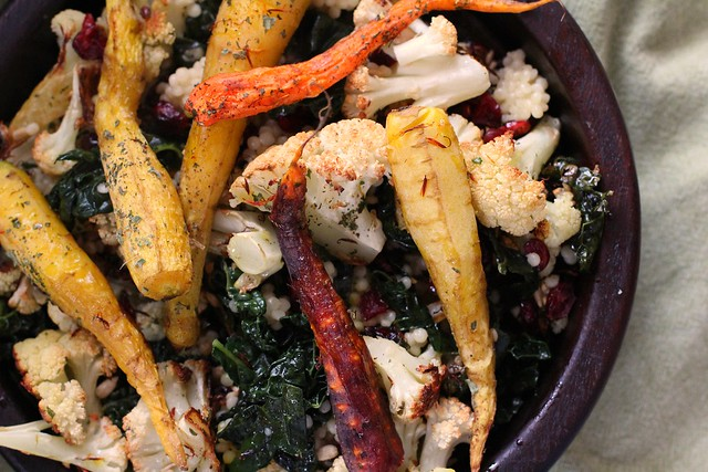 Saffron Roasted Cauliflower & Carrots with Kale & Couscous