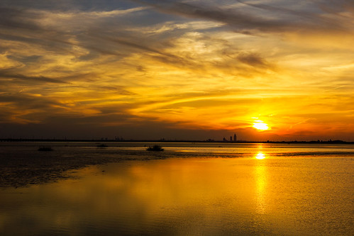 sunset reflection nature clouds landscape