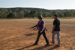 Tara Preparing to Kite Paragliding Wing   by goingslowly