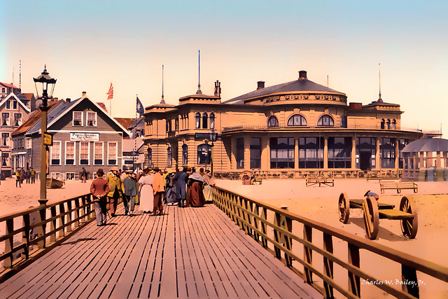 Digital Color Pen and Ink Drawing of a Boardwalk in Helgoland in Germany