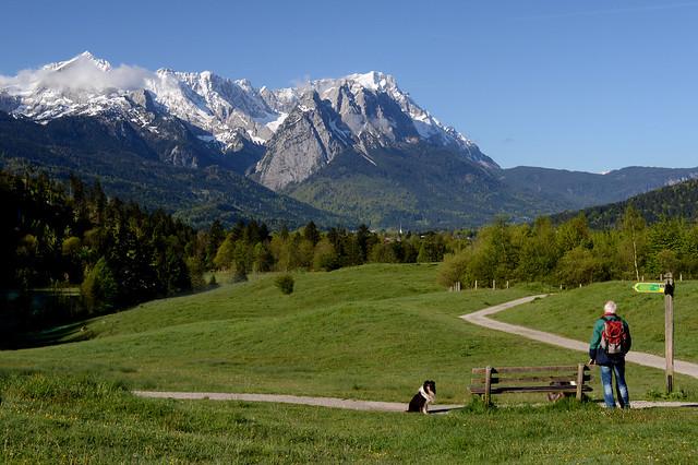 Blick zum Wettersteingebirge