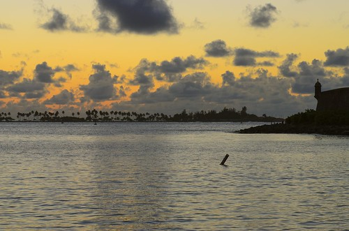world ocean old sunset sea orange color heritage water night clouds puerto gold golden bay harbor site seaside san colorful warm juan cloudy fort colonial unesco rico spanish tropical caribbean fortification tones fortress tropics