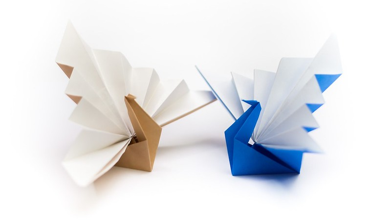 วิธีพับกระดาษเป็นรูปนกยูง (Origami Peacock - ピーコックの折り紙) C