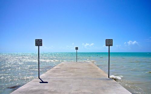 ocean blue sky west water mexico pier dock key gulf florida 2008