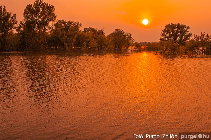 Tiszai tetőzés napnyugtakor (A fotó az ártéren készült 2006-ban.)