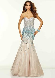 strapless beaded corset back nude turquoise mermaid dress