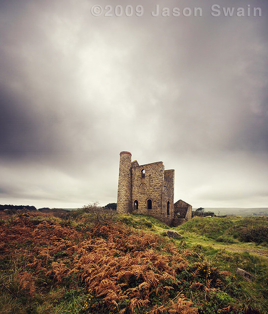Autumnal colours at Cripplesease Engine House, Cornwall.