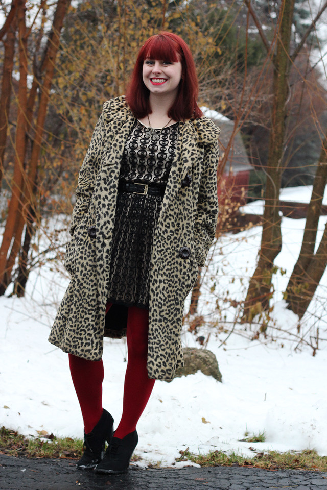 Leopard Faux Fur Coat Black Lace Dress Red Tights Ank