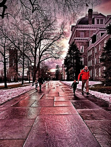 a romp on campus