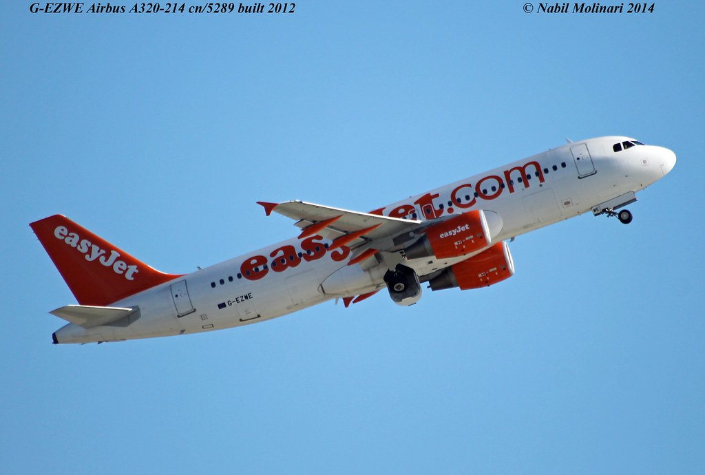 easyJet UK G-EZWE Airbus A320-214 cn/5289 @ Nice Cote d'Azur Airport LFMN / NCE 22-02-2014