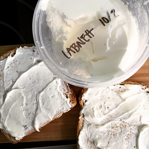 Look, I'm not saying this is the easiest cheese to make...but it IS. A kilo of Greek yoghurt, salt, a cheesecloth, a strainer, and a bowl to catch the whey. After a night in the fridge it's delicious and amazing. :) | by Penny Poppleton