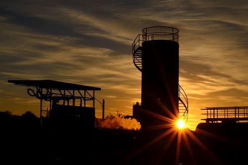 morning winter sky sun industry weather silhouette clouds sunrise dawn nikon stair industrial skies australia victoria cylinder vic sunburst loud sunbeam sunbeams fueltank gippsland warragul spiralstair auspctagged pc3820 d5100 nikond5100 phunnyfotos gippypics