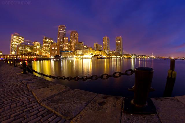Break of Dawn over Boston Skyline and Fort Point Channel, Fan Pier Plaza South Boston