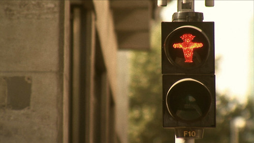 """The man in the traffic light beckons to me with his arms."" (Scene from '13 stages') 