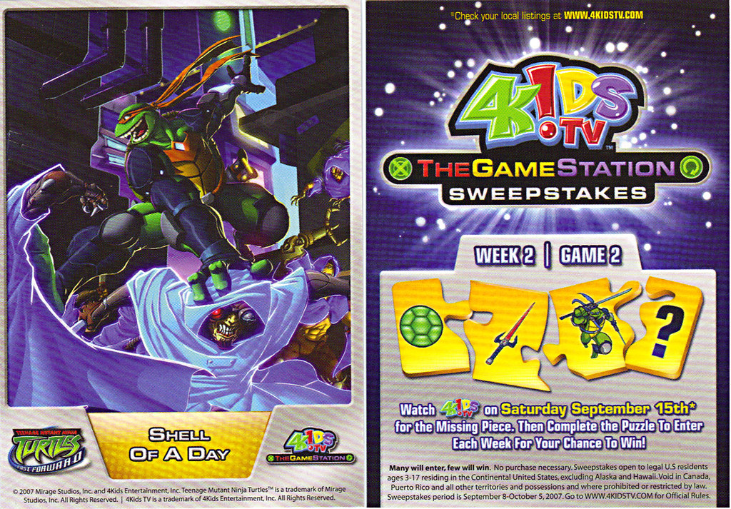 4KIDS TV - 'THE GAME STATION' :: K•B TOYS EXCLUSIVE,LIMITED EDITION COLLECTIBLE CARDS // ..TEENAGE MUTANT NINJA TURTLES : FAST FORWARD card (( 2007 )) by tOkKa