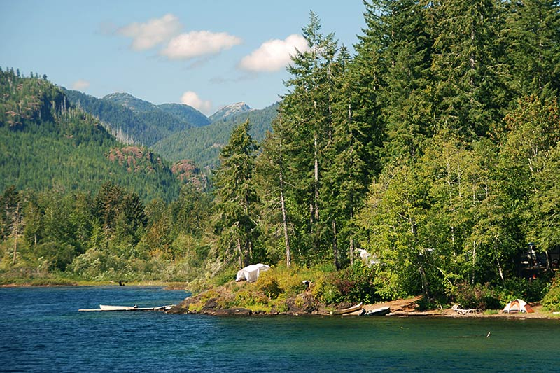 Campsite on the west end of Sproat Lake, Vancouver Island, British Columbia, Canada