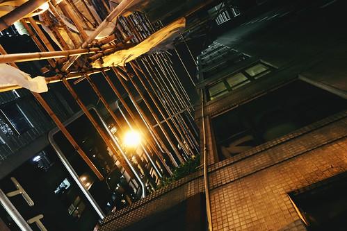 Scaffolding, Alleyway, Night | by sangsara