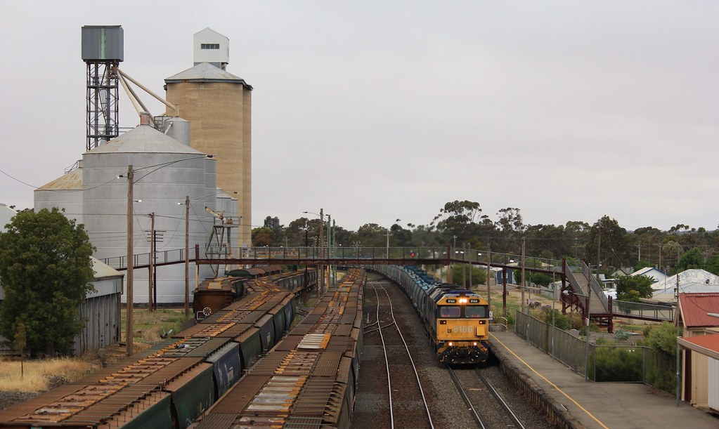 8166 and 8123 in dynamic braking approaches Dimboola station by bukk05