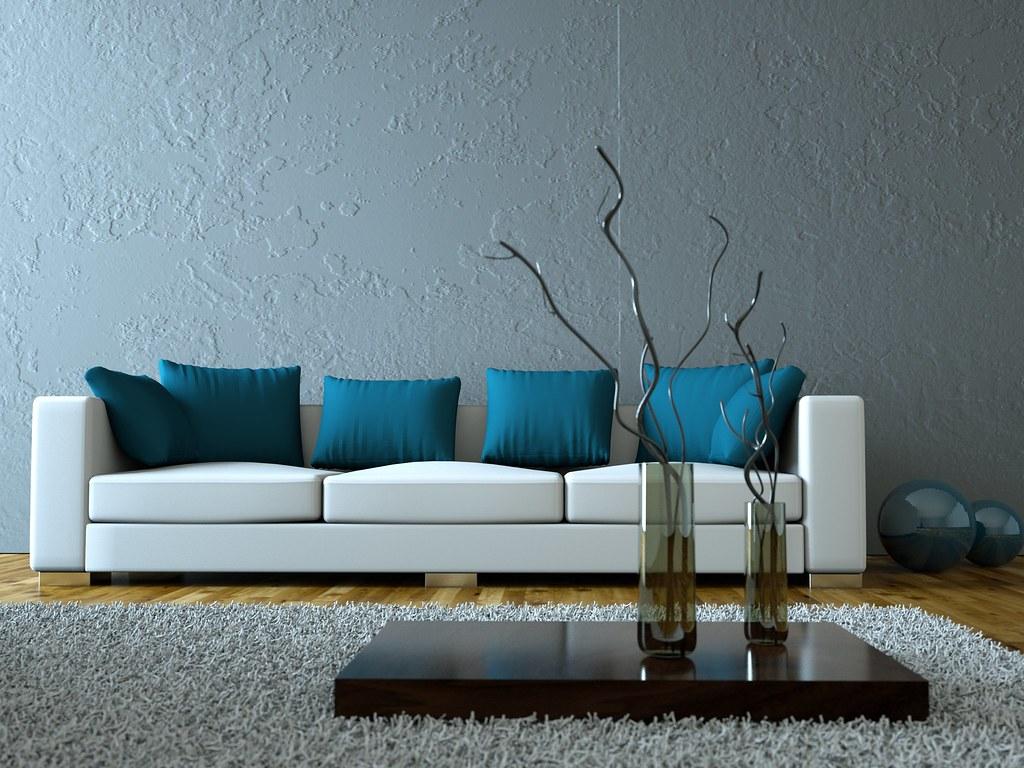 Modernes Wohnzimmer Grau Blau Foto Miki Flickr