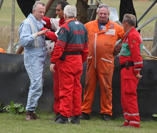 Crash at St.Marys Corner - Andrew Beaumont - LDS Alfa Romeo - Glover Trophy practice - Goodwood Revival 2013 - Driver ok | by PSParrot