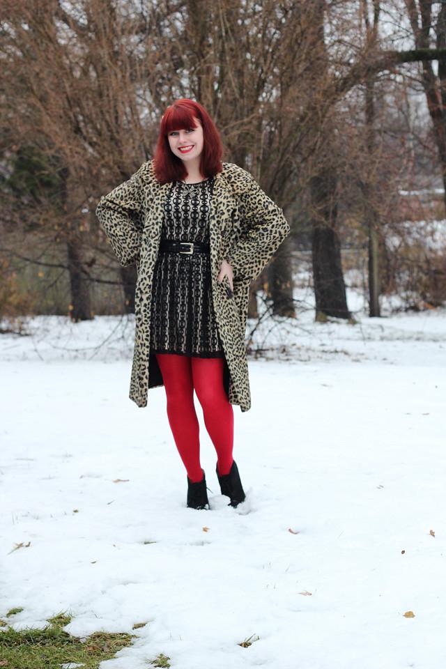 Vintage Leopard Print Coat Black Lace Dress Red Tights