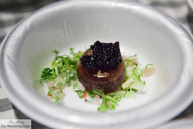 Quail egg en gelée with American caviar by Balthazar (at VIP Lounge)