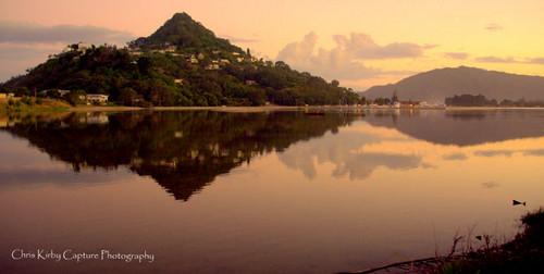sunset newzealand reflections bay harbour coromandel tairua paku