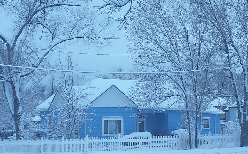Snow On A Blue House February 2015 Amy Aletheia Cahill