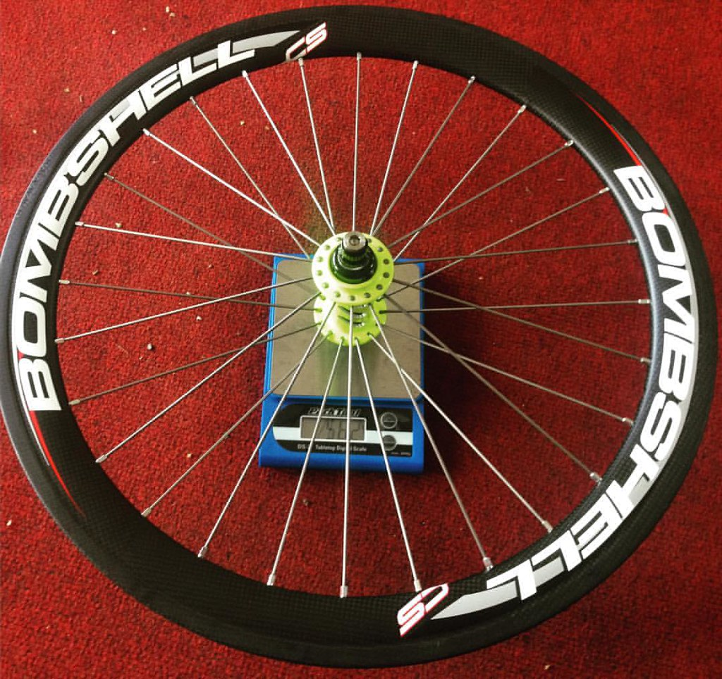 Front wheel with bolts (562 grams) Bombshell carbon rims w