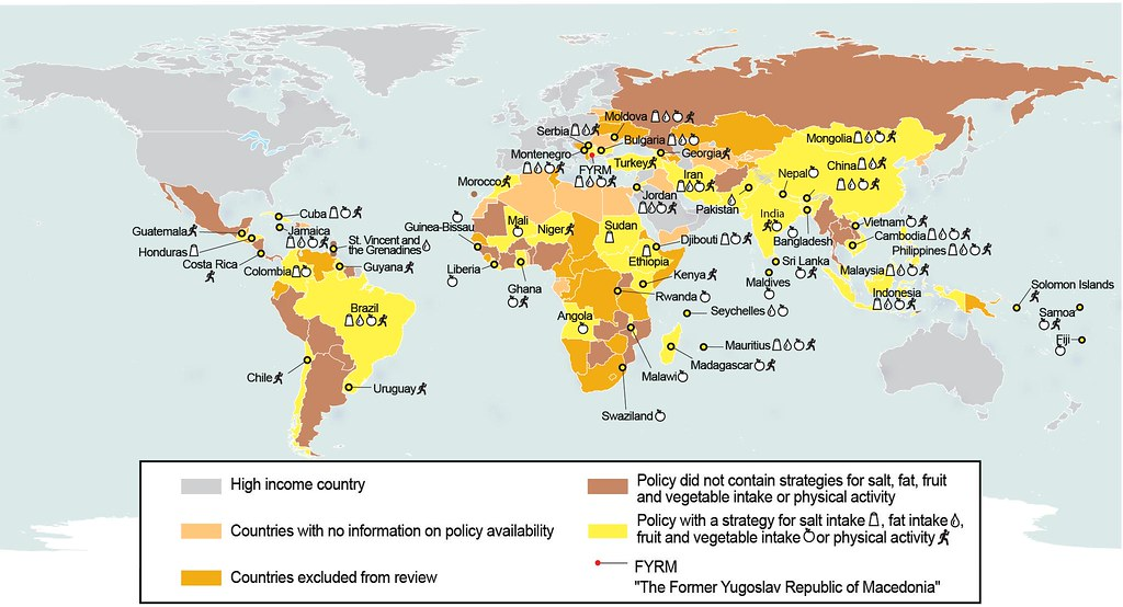 Atlas of availability of national actions to limit salt or fat intake or increase fruit and vegetable intake or physical activity.