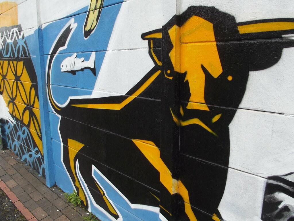Birmingham graffiti art opposite the bond grand union canal digbeth branch digbeth