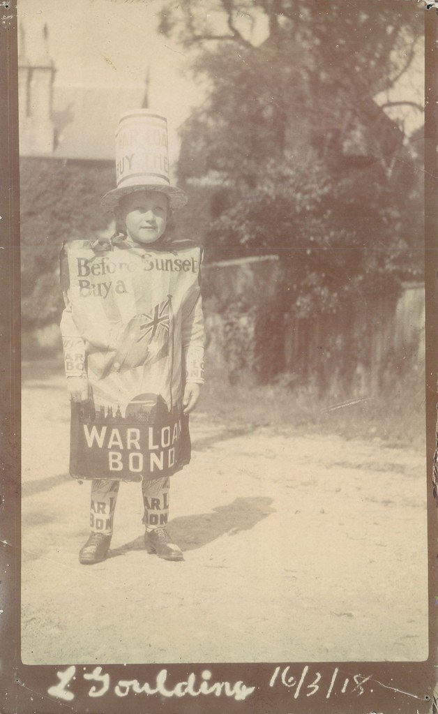 Loan Advertising World War I - Other Forms: Lindsay Goulding, first prize winner in the War Loan Bonds Competition, Red Cross Fundraising Fete, fancy dress costume, Northwood, NSW, 1918 (PN-001670)