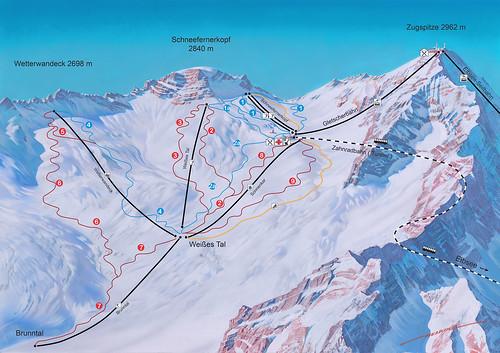 Zugspitze - mapa sjezdovek