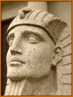 Woodlawn Cemetery: Face of Sphinx, Dodge Brothers Mausoleum (Tinted)--Detroit MI