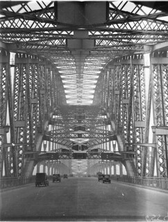 Some of the first vehicles across the [Sydney Harbour] Bridge, 20 March 1932 / photographer Sam Hood