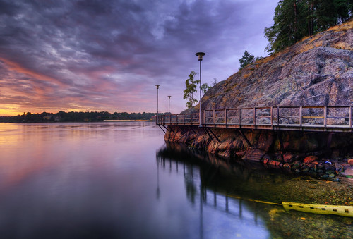 trees sunset sky mountain water night clouds reflections landscape rocks cloudy sweden stockholm stones pipe surface plastic boardwalk lighttrails sverige lamps hdr waterscape nacka