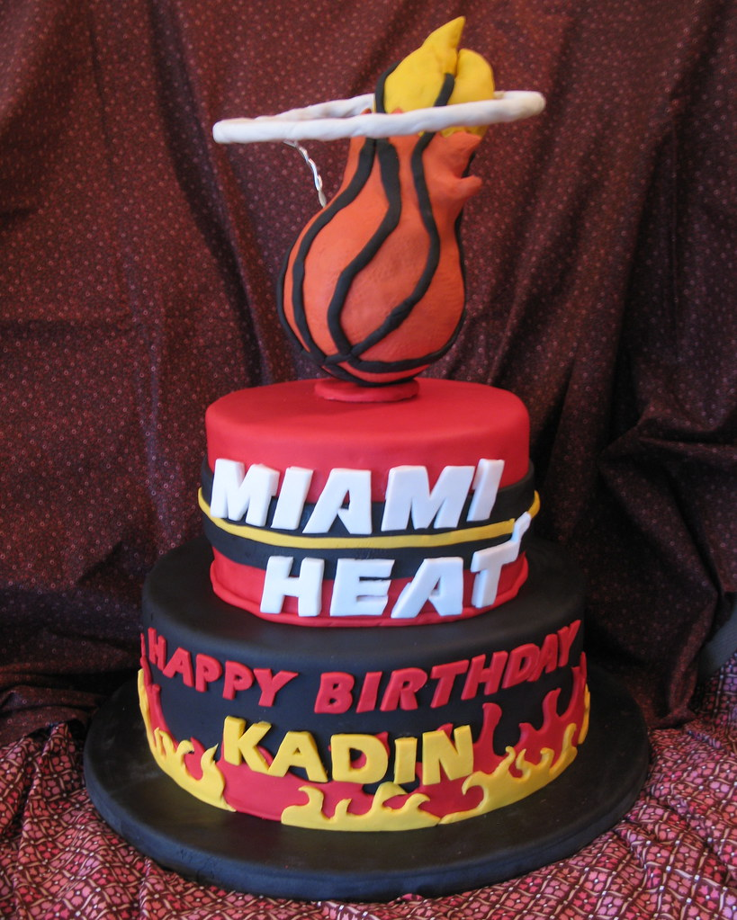 Strange Miami Heat Birthday Cake 04 Yellow Cake With French Vanill Flickr Funny Birthday Cards Online Alyptdamsfinfo