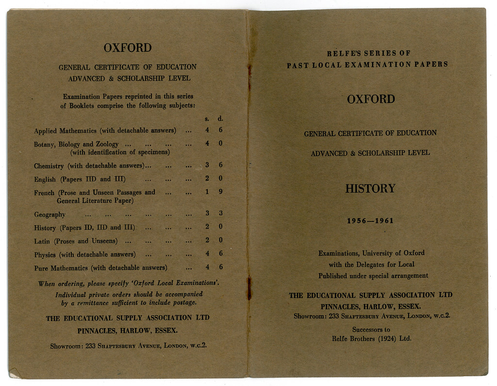 A-Level History Past Papers 1956-1961 | Flickr