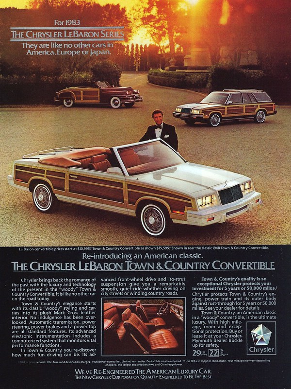 Vintage Automobile Advertising For The 1983 Chrysler LeBaron Town & Country Convertible, Included In Esquire Magazine, June 1983 Issue