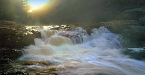 trees summer mist fog creek dawn waterfall lowlight rocks stream hiking pennsylvania falls cascades creativecommons poconos monroecounty tobyhannacreek tobyhannafalls austintblakesleenaturalarea