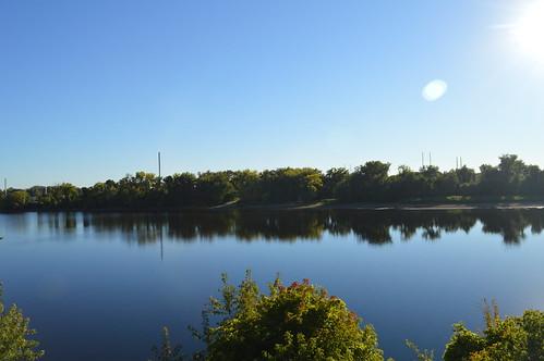 trees usa sun reflection water river nikon springfield