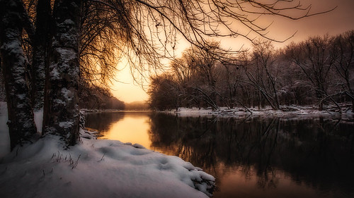 grandriver michigan beauty calm golden landscape reflection river snow sunset water white winter