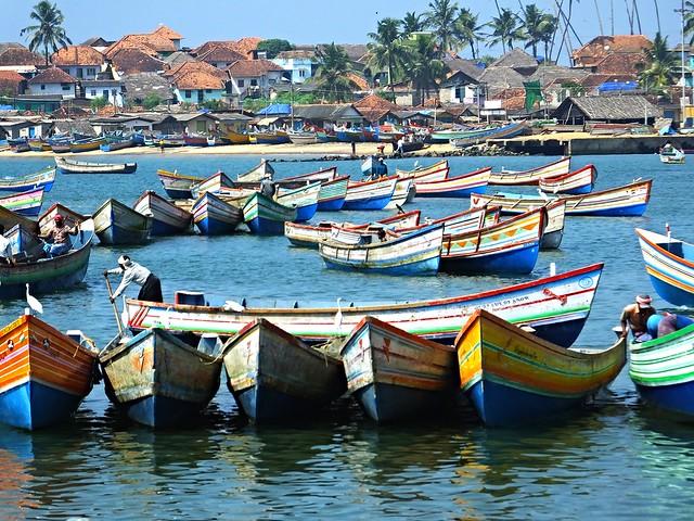 Fishing boats in Vizhinjam, India