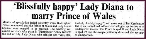 24th February 1981 - Prince Charles and Lady Diana Spencer announce their engagement | by Bradford Timeline
