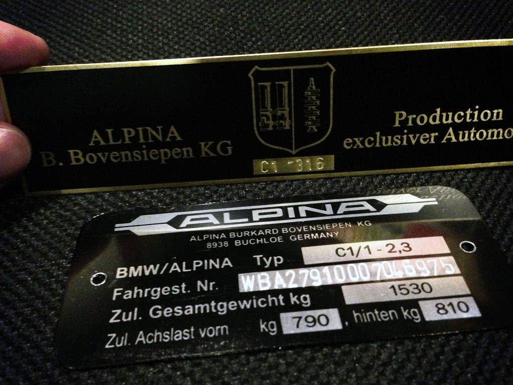 Bmw Alpina C1 316 Bmw Alpina C11 23 Vin Plate Flickr